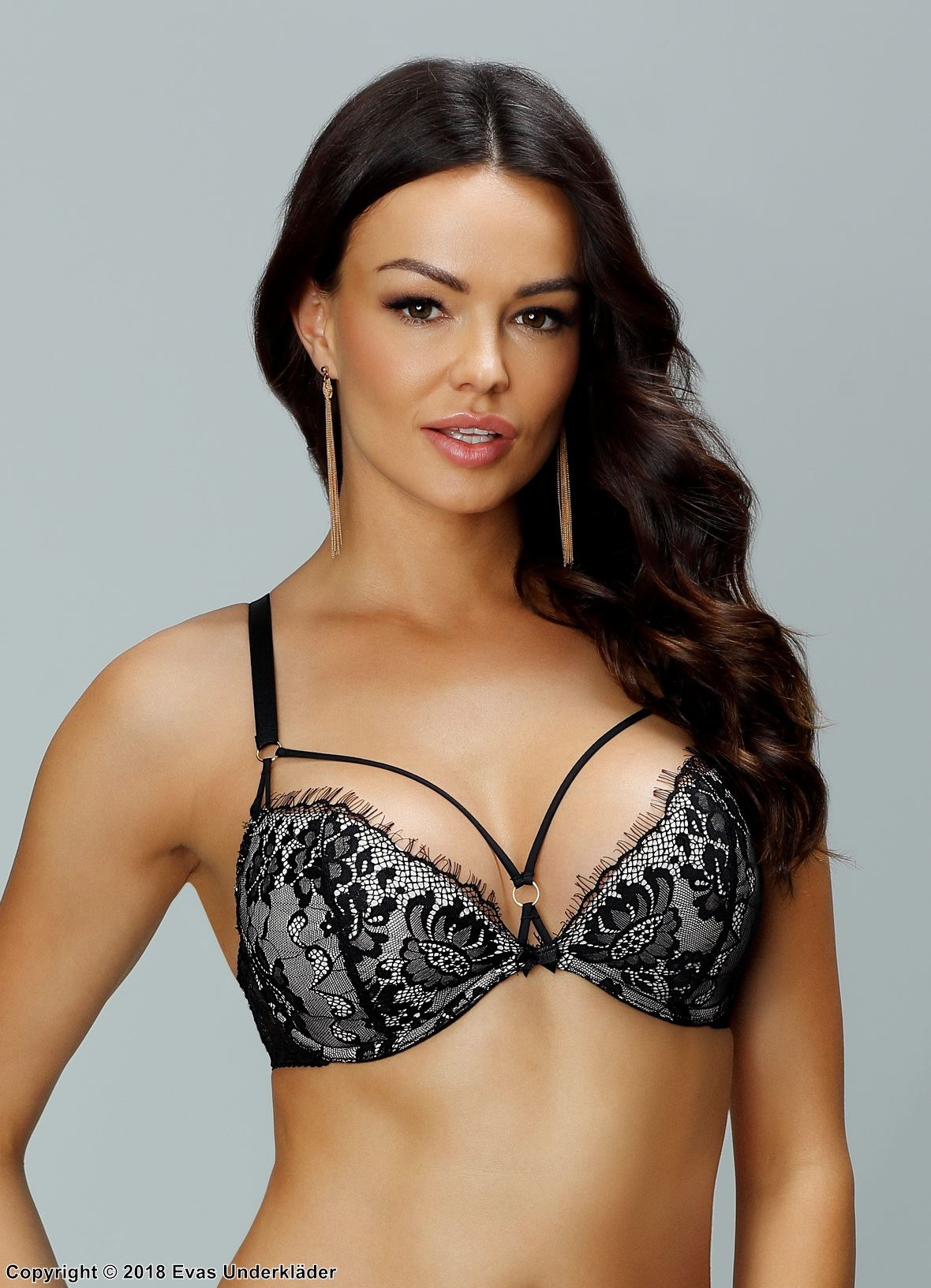 Push-up bra, straps over bust, eyelash lace, ring, A to H-cup